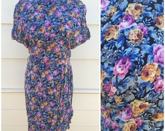 1980s romper jumpsuit with hidden shorts blue purple rose floral size large