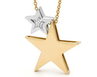 2 Stars Necklace, solid 9k yellow and white gold diamond stars necklace