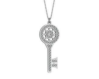 Diamond Round Key Necklace in 14k White Yellow Rose Gold accented by 45 diamonds 0.90 ct | made to order for you within 5-7 business days