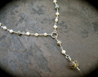 "Freshwater pearl Rosary Style Necklace Wire wrapped pearl Y necklace 19"" with 3"" extender chain White Pearl Necklace Great Gift"