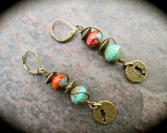 Coral and Turquoise Wire Wrapped Earrings with Leverback closures and Antique Bronze Bird Charms Great Gift