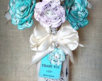 Sheet music or book paper mini bouquet in bottle/vase. Centerpiece, hostess gift, thank you gift, housewarming gift. Customize your colors