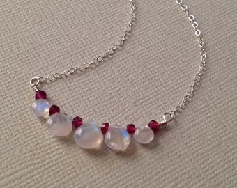 Moonstone and Garnet Necklace in Sterling Silver -Moonstone  Garnet Pendant Necklace -Rainbow Moonstone Necklace