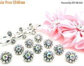 ON SALE Rhinestone Buttons-10 Mini Petite Plastic Acrylic AB Iridescent Rainbow Rhinestone Crystal Buttons 10mm-2997-14R.