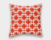CLEARANCE 70% OFF Red Chain Link Pillow Cover. 18X18 Inches. Accent Pillow. Red and White Decorative Pillow.