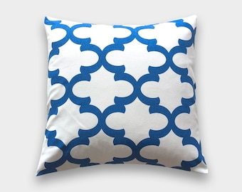 25% OFF Cobalt Blue Moroccan Tiles Throw Pillow Cover. 18X18 Inches. Royal Blue Quatrefoil. Decorative Pillow Cover.