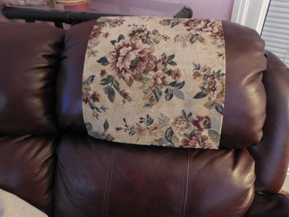 Tan Floral Upholstery Recliner Cap Chair Cover Headrest