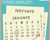 2017 TYPEWRITER CALENDAR - Scrapbook Clip Art - Printable Digital Monthly Calendar  - Instant Download