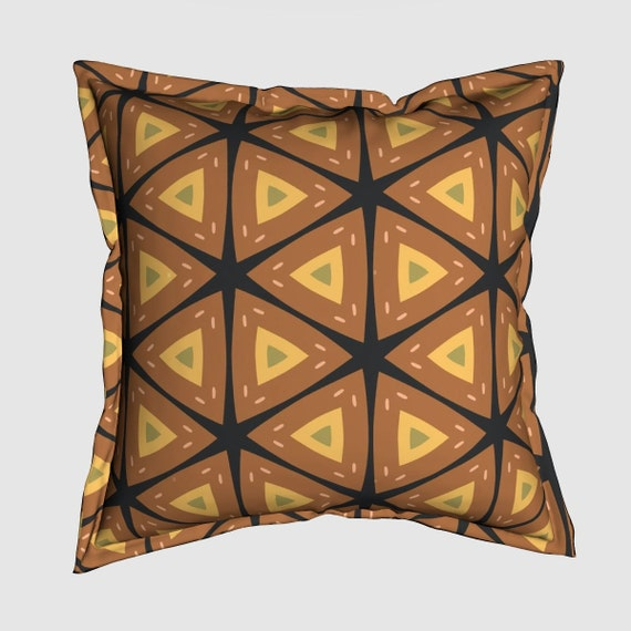African Textile Pattern Premium Pillow With Flange Edge And