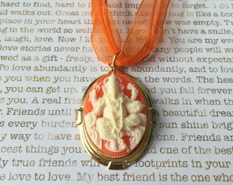 Carnelian Ganesh Elephant Necklace  OOAK - Ivory on Carnelian Majestic Ganesh Cameo Set In Gold On a Matching Orange Organza Necklace