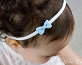 Baby Headbands, Hair bands, Headband, Girl Headbands, Flower Girl, Hairbands - Little Blue Grosgrain Stitched Detail Bow - Golden Beam