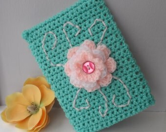Hand Crocheted Light Jade Green Flowered Kindle Nook Kobo E-reader Tablet iPad Sleeve Cover Holder