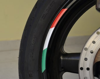 "8x Flag Sticker Stripes Italy Italian Tricolore Stripe Motorcycle Rim For 12""/13"" Wheels"