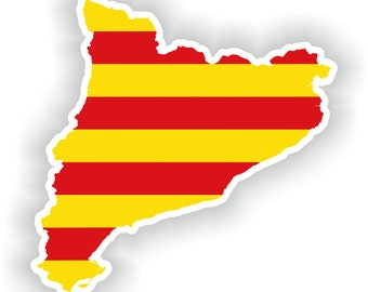 Catalonia Map Flag Silhouette Sticker for Laptop Book Fridge Guitar Motorcycle Helmet ToolBox Door PC Boat