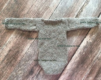 PDF Knitting Pattern  - newborn photography prop_Classic long sleeved romper ONLY #144