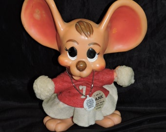 Vintage 70s Royalty Vinyl Cheerleader Mouse Coin Bank Credit Union Ad Premium Toy Big Ears