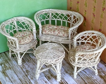 Barbie wicker furniture from the 1960's white wicker with handmade cushions 2 chairs settee and table vintage Barbie