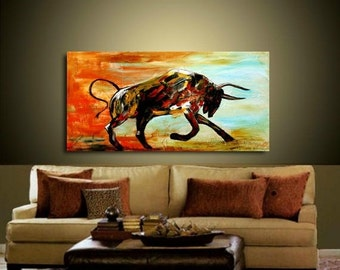 Sale XLarge Abstract painting,Original comtemporary Art,Bull,Animal, Ready to hang  by Nicolette Vaughan Horner 48x24