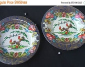 NOW ON SALE Vintage Oriental Flower Wall Hanging Kitchen Home Decor Tin Plate & Bowl Housewares Set Retro Chicken Collectible