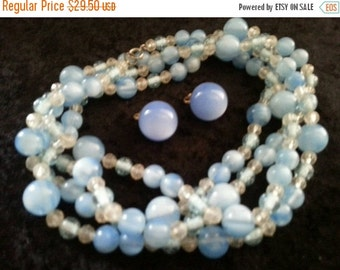 Now On Sale Beautiful blue flapper length long beaded necklace and earring set 1960s