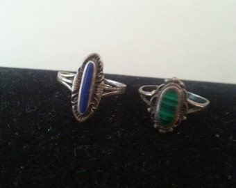 Now On Sale Vintage Sterling 925 Rings Set of 2 Size 5 1/2 to 6 **1960's Collectible Jewelry Mid Century Collectibles