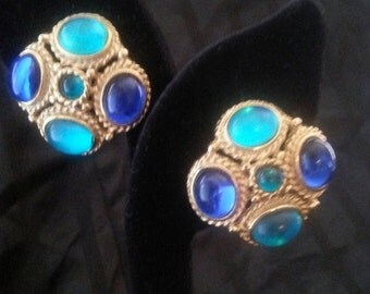 Now On Sale Vintage Aqua Blue Rhinestone Earrings Chunky Stone Jewelry 50's 60's Collectibles Mad Men Mod Black Tie Formal