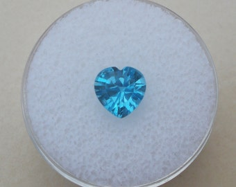 Swiss Blue Topaz Heart Gem 7mm