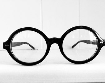 Vintage Round Glasses - Black Frames - Eye Glasses - Reading Glasses Frames
