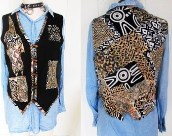 Crazy Funky Animal Print Abstract Geometric Patch Toggle Vest