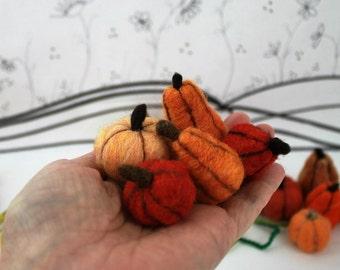 Needle felted miniature pumpkin, 5 piece wool pumpkin assortment, felted gourds, orange yellow mini pumpkin, Instant bowl filler, fall decor