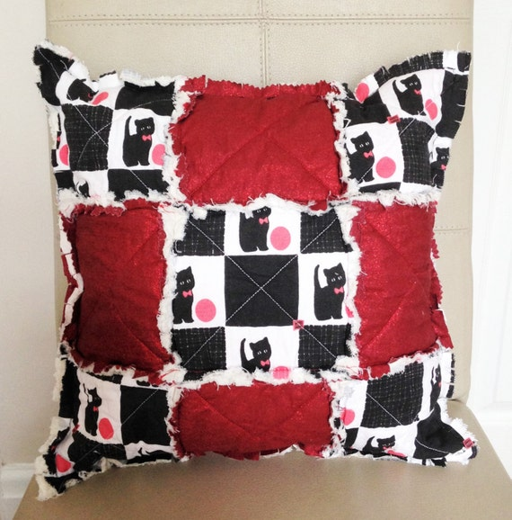 Rag Quilt Pillow Rag Pillow Rag Quilt Cushion Rag Cushion