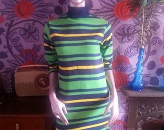 1960's Thin Knit Striped Mini Dress
