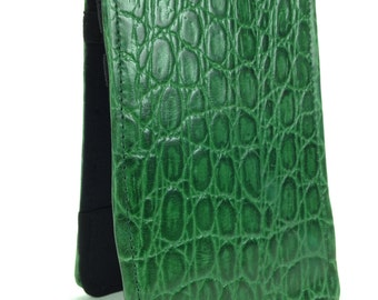 Hand made Caiman Crocodile leather golf scorecard and yardage book holder / cover
