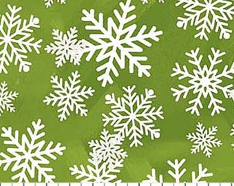 WHITE CHRISTMAS-white and silver glitter snowflakes on green- Northcott Christmas cotton quilt fabric by the yard