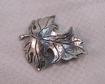 Vintage Brookcraft Sterling Grape Leaf Brooch
