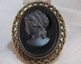 1960's Obsidian Cameo Pendant/Brooch
