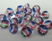 24 glass jewels, Ø7mm, rivoli, crystal red blue green, round