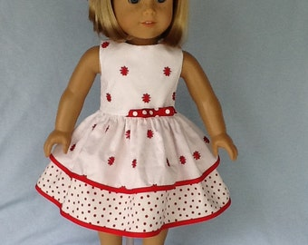 18 inch doll dress and hair clip.  Fits American Girl Dolls.  Red and white ruffled dress.