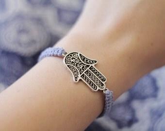 Hamsa Hand Bracelet - Hemp Bracelet - Hemp Jewelry