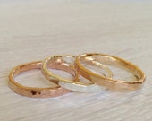 Wide Gold Ring -12g gauge - Hammered Ring - Thick Stackable Rings - Wide Hammered Ring - Gold Ring - Rose gold Ring - Organic Gold Ring