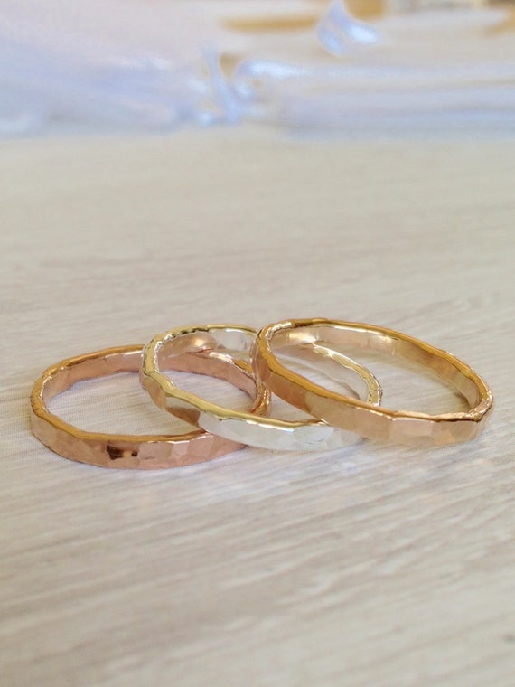 wide gold ring 12g hammered ring thick stackable