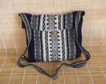 Vintage Black Blue  Stripes Shepard Shoulder Strap Bag Purse Knitted