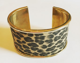 Vintage Faux Leopard and Brass Wide Cuff Bracelet Circa 1960s with FREE SHIPPING!