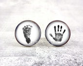 Hand Print Cuff Links Foot Print Cuff Links - Baby Footprint Handprint Cufflinks Father's Day Gift - Personalized Cuff Links Custom Gift