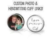 Custom Photo and Handwriting Cuff Links Silver Picture Cuff Links - Wedding Cufflinks Fathers Day Keepsake from Kids - Signature Jewelry