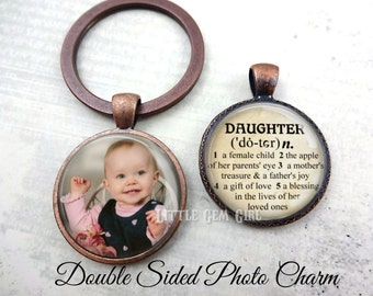 Custom Photo Daughter Key Chain - Personalized Double Sided Daughter Jewelry - Daughter Dictionary Definition Charm - Mother Daughter Poem