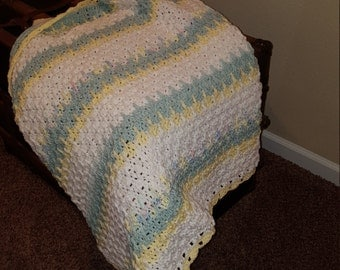 Baby Afghan Blanket in Yellow, Light Green and White Boy or Girl 33x45