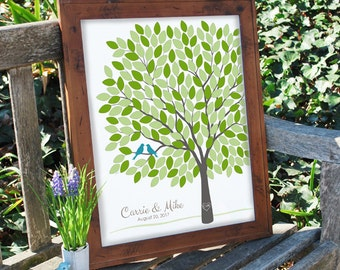 Modern Wedding Tree Guest Book Alternative, Wedding Tree Keepsake Guestbook, Personalized Love Birds Poster, 50-300 Guests, Canvas or Print