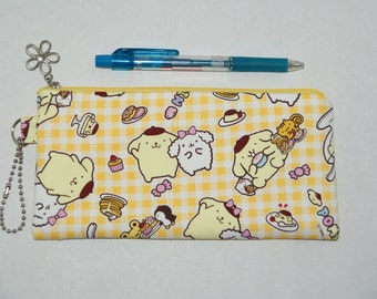 "Padded Zipper Pouch / Pencil Case / Cosmetic Bag Made with Cotton Oxford Fabric ""Pompompurin"""