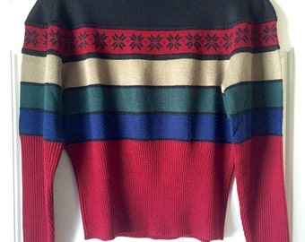 Vintage Ugly Christmas Sweater - Small Striped Poinsettia Sweater